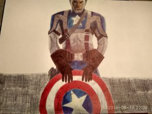 ballpoint drawing captain america 4