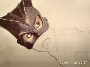 ballpoint drawing catwoman 2