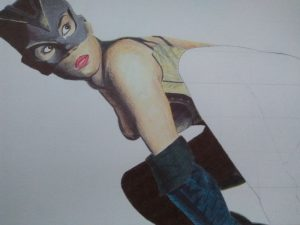 ballpoint drawing catwoman 4