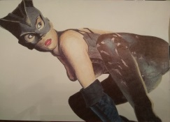 ballpoint drawing catwoman