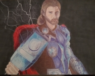 ballpoint drawing marvel thor