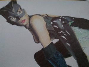 ballpoint drawing catwoman 5