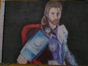 ballpoint drawing marvel thor 2