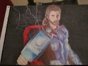 ballpoint drawing marvel thor final